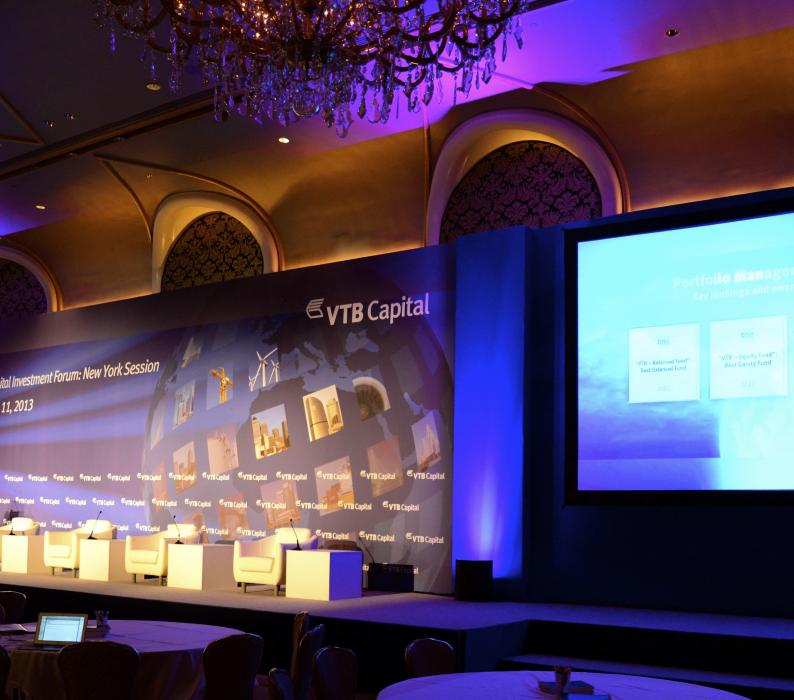 VTB Capital 80' long stage set at Waldorf Astoria